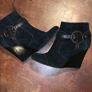 Tory Burch Suede Side Zip Ankle Wedge Boots 7M